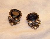SALE  big, bold, beautiful baroque navy blue earrings