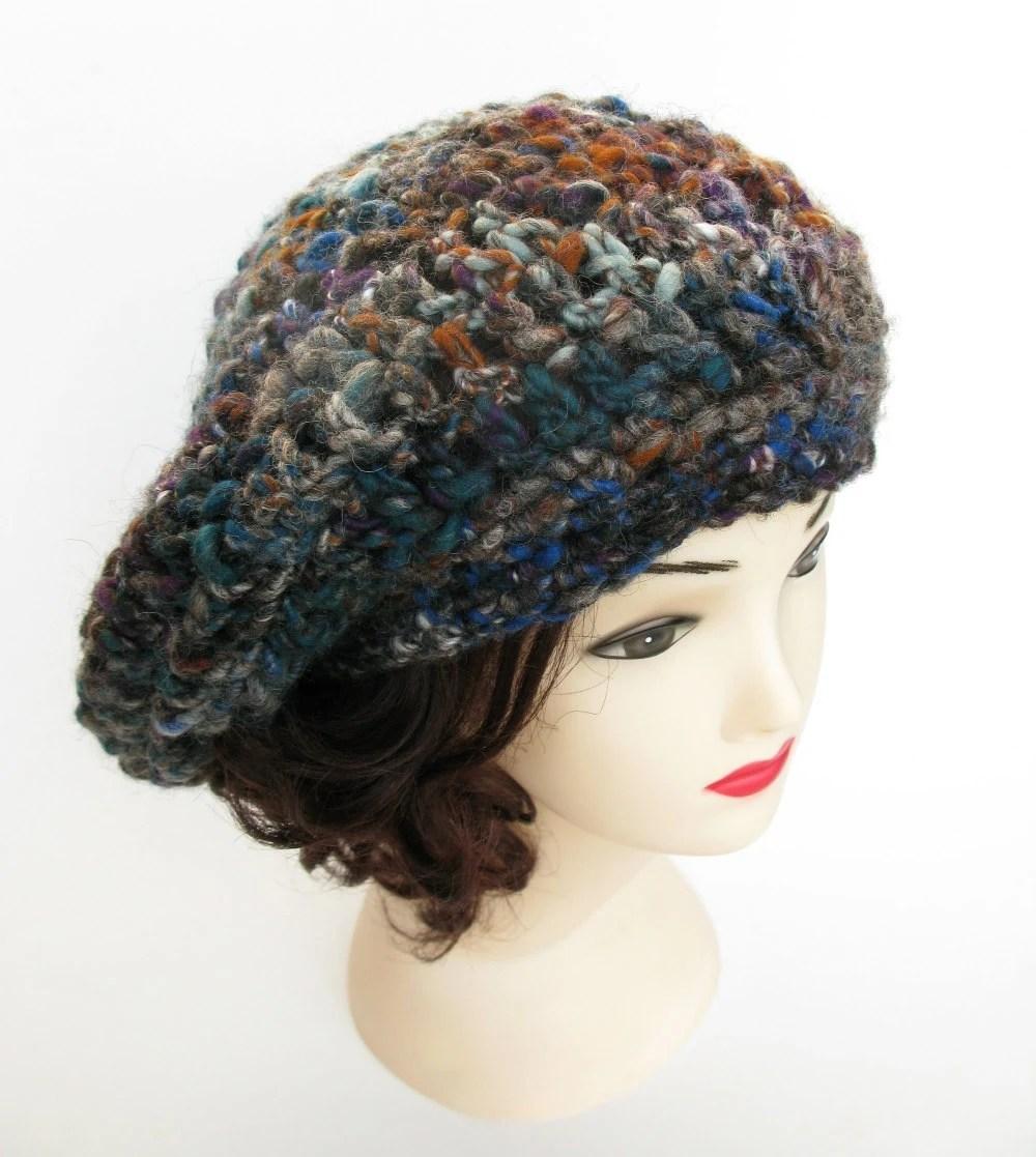 Crochet Hat - Handspun Art Yarn - Merino Wool - Chunky, Slouchy, Beret - ooak