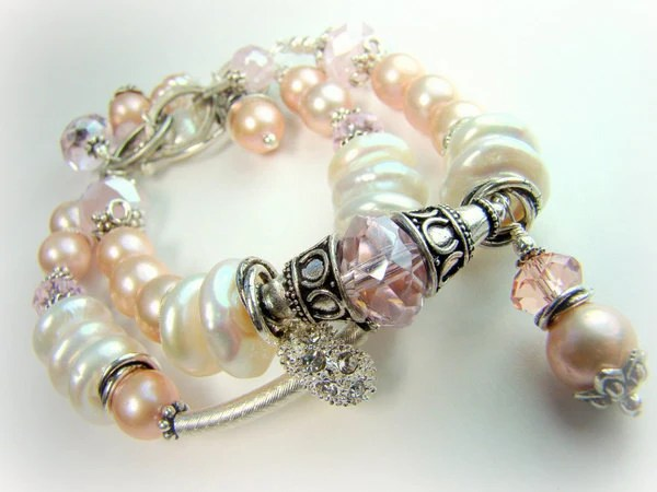 Duet in Pink... pearls, crystal, silver, double strand bracelet