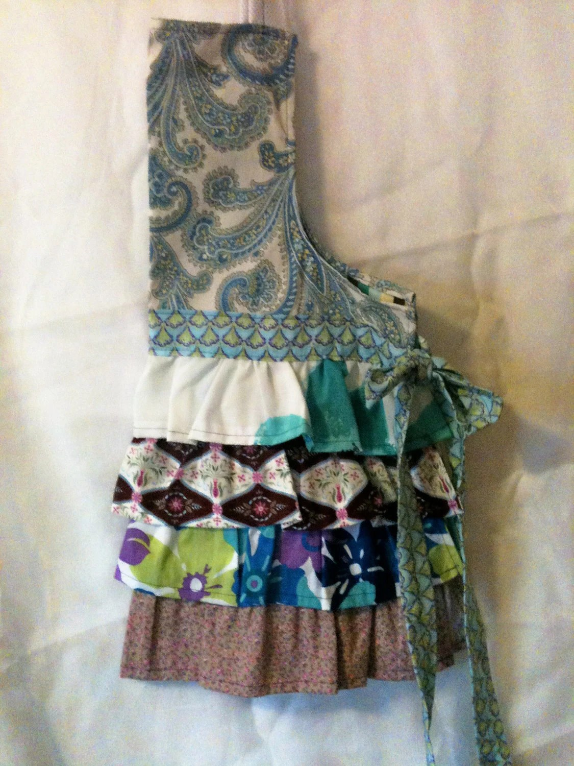 Field of Flowers Ruffles- A Flirty Feminine Purple, Turquoise & Lime Floral Apron