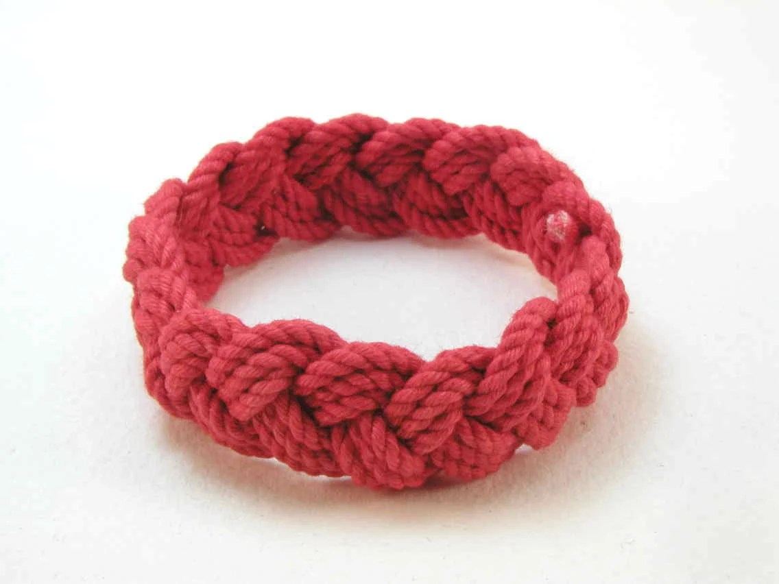 red cotton turks head knot rope bracelet medium 1907