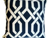 Decorative Pillow - Accent Pillow - Throw Pillow - Navy Trellis Pattern - P Kaufaman Designer Fabric