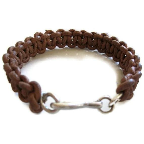 Silver  Leather Bracelet  Woven  Natural Cord Sterling Bangle - sheriberyl