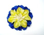 "Hair Flower Fascinator - Royal Blue & Yellow 3.75"""