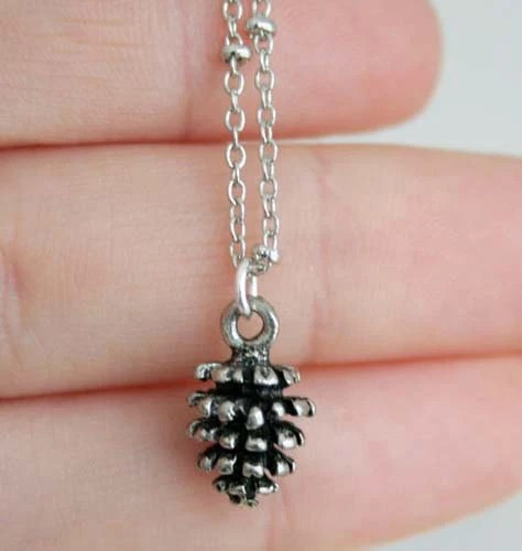 The Petite Pine Cone Necklace in Antique Silver Finish