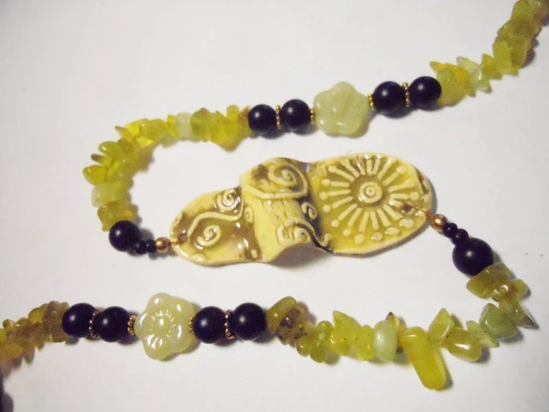 Abstract Artsie Porcelain Necklace with Citron and Jade, Wearable Art