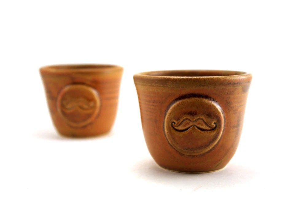 Brown Mustache Rum Cups:  Set of Two - MiriHardyPottery