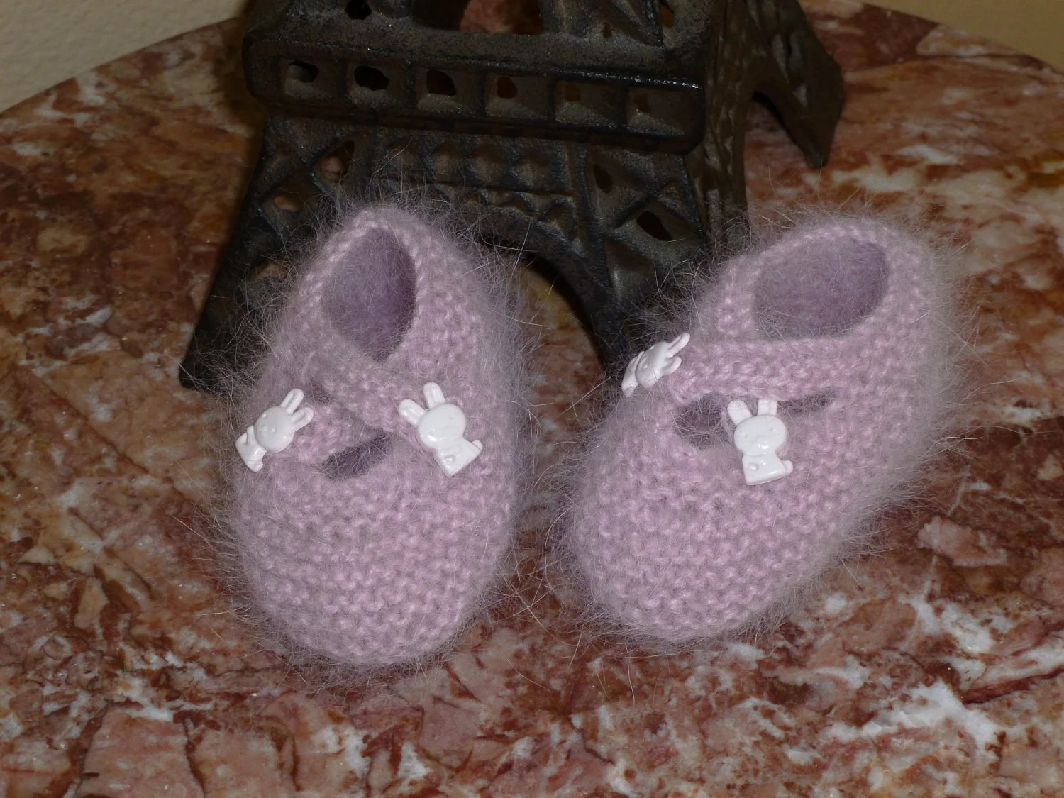 French Angora Baby Booties Hand Knit