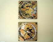 "ORIGINAL Two Piece Metallic Abstract Spin-Art Style Retro Paintings 12"" x 24"" Canvas - TracyHallArt"
