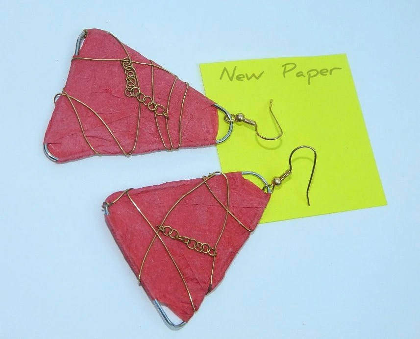 Red Nacho  paper earrings