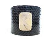 Sexy Snakeskin Cuff Bracelet, Navy Blue, White Carnelian Bead