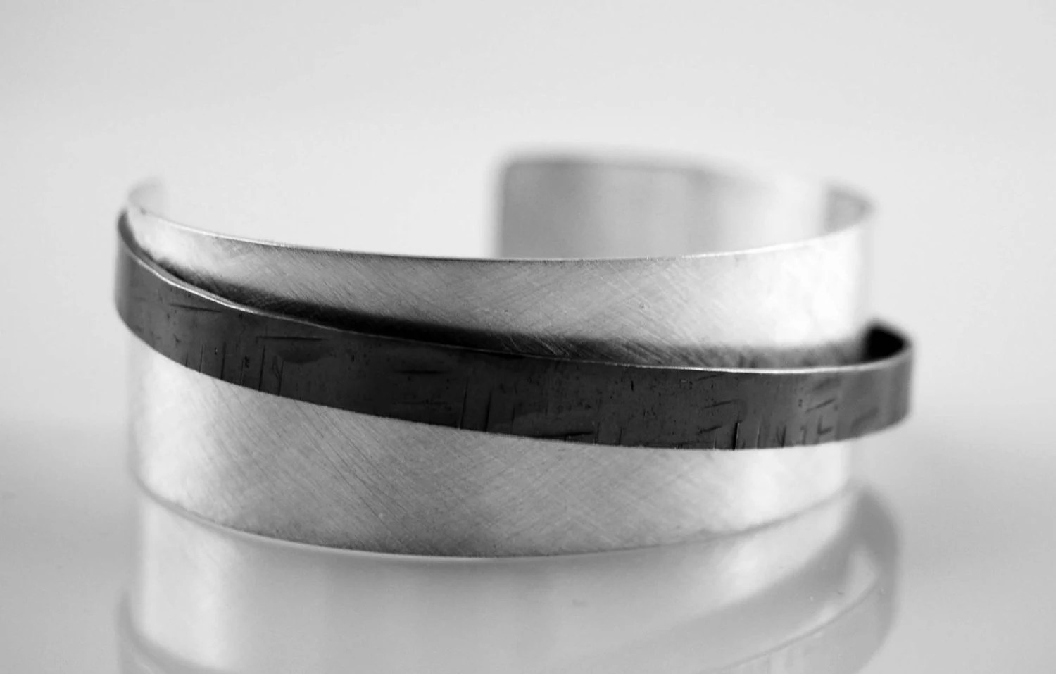Recycled Sterling Silver Banded Cuff Bracelet