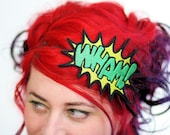WHAM Cartoon Headband, Comic Inspired, Yellow and Green
