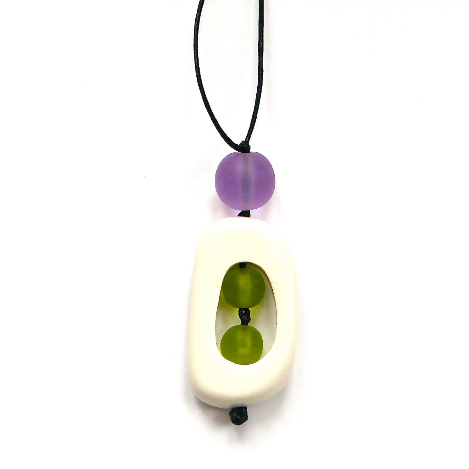 Nursing Mom Necklace - Non Toxic Resin Nursing Breastfeeding Necklace - 'Twiddle Buster' - Chartreuse Green and Lavender Purple