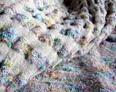 Handwoven Rainbow Crinkle Stole - Bridal Shawl