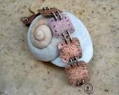 copper metal work bracelet with bronze wire - EdisLittleTreasures