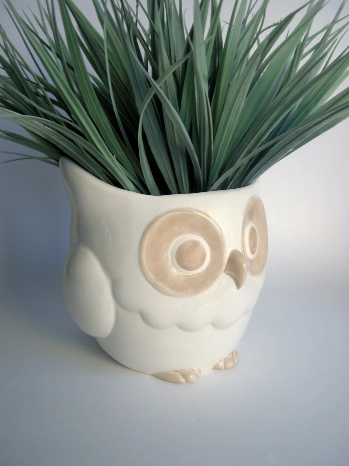 Ceramic Owl Planter, White and Beige - modclay