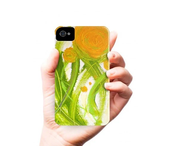 POPPiES iPhone 4/4S case - orange green flowers - contemporary fine art - abstract painting - phone case - linneaheideart