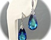Crystal Bridal Earrings, Bermuda Blue Earrings, Swarovski Crystal Earrings, Teardrop and CZ Sterling Silver Vintage Style Wedding Jewelry - AzureTreasures