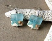 Seashore earrings handmade glass lampwork beads with aqua starfish and shells summer fashion beach fashion - BlackStar