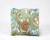Women Wallet, Zipper Pouches, Cotton, Blue, Green, Tan, Leaf Print - PoePoePurses
