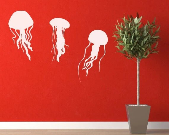 3 Floating Jelly Fish Vinyl Wall Decals