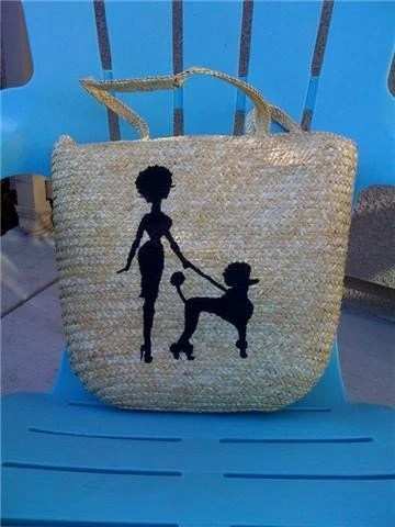 Poodle and Pin Up Wicker Basket Purse