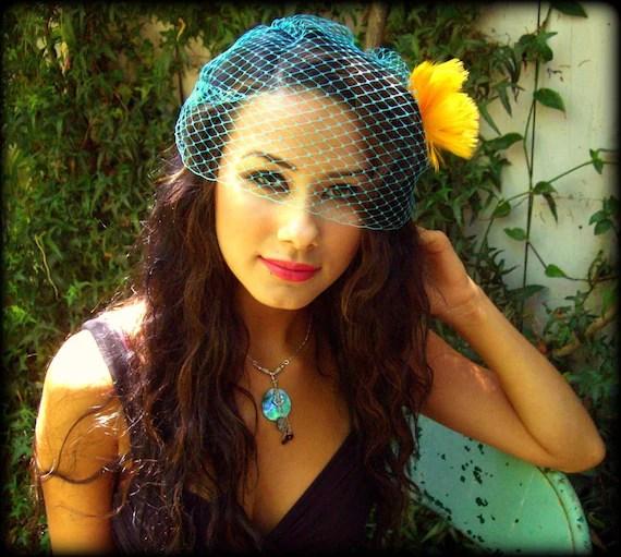 Turquoise Birdcage Veil bridal bridesmaid Bandeau 9 inches retro