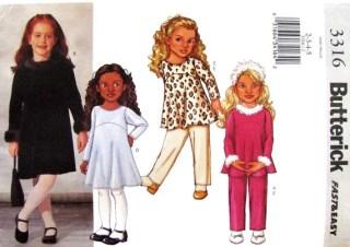 Girls Top A Line Dress & Pants Sewing Pattern Butterick 3316 UNCUT Size 2 3 4 5