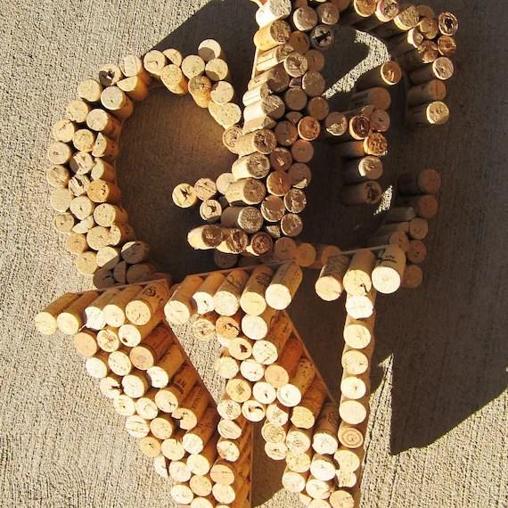"Monogram Letter - Recycled Wine Cork Wall Decor Letter ""R"""