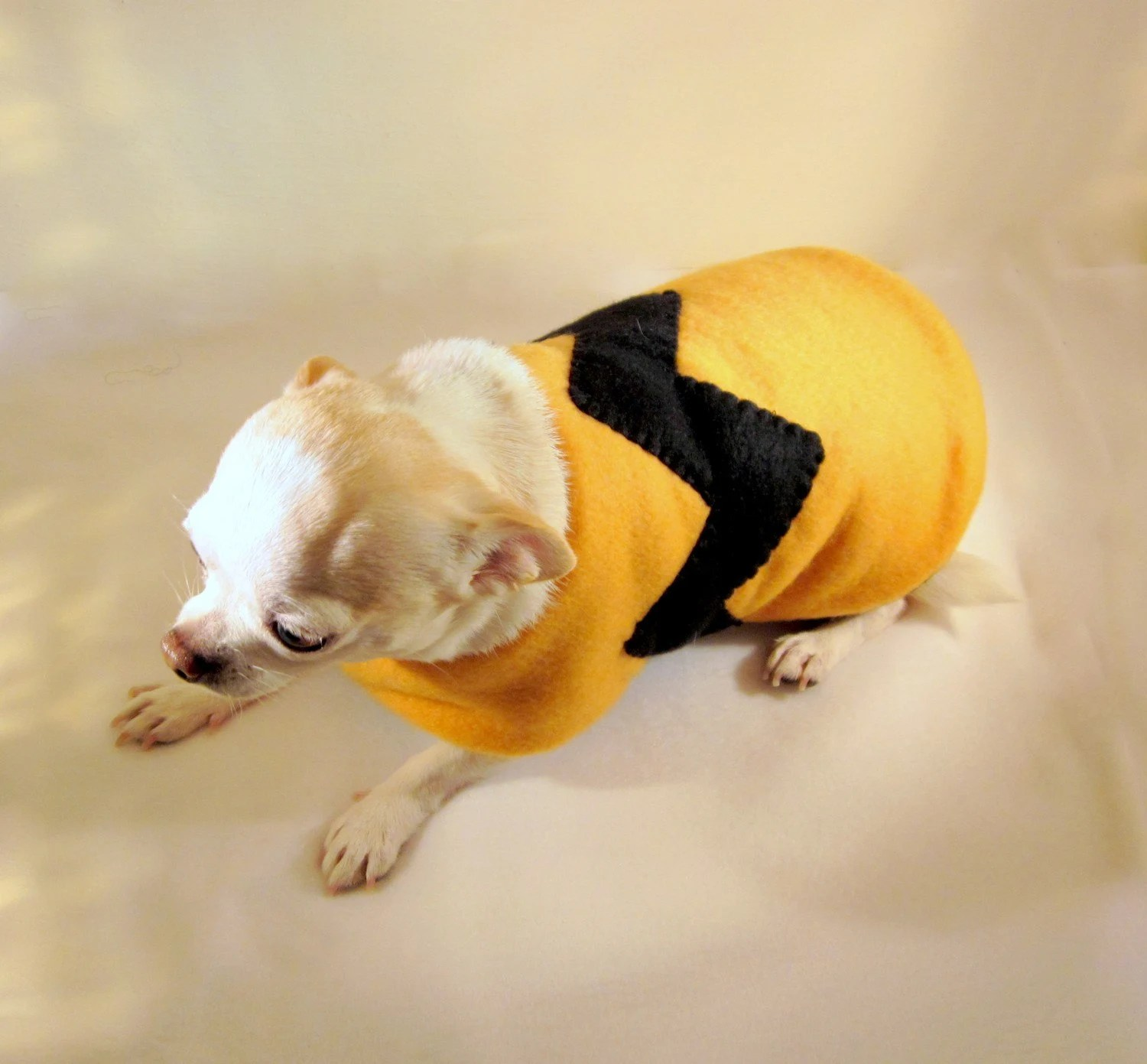 Custom Blanket Style Dog Clothes Jacket / Coat - Double Layer Fleece - Reversible - You Choose colors - Charlie Brown (Size 29-31 Length)