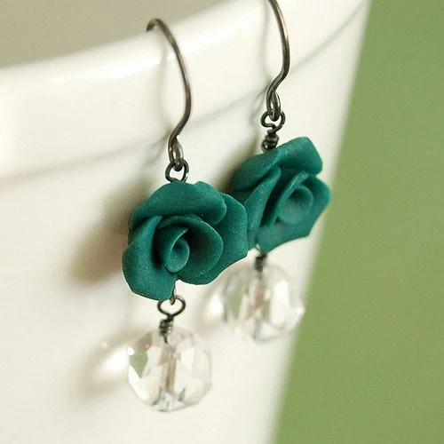 Dark Teal Rose and Vintage Glass Earrings on Sterling