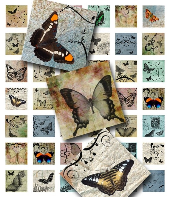 Butterflies and Swirls Handmade and Watercolor Paper Background 1 inch Square Digital ImageCollage Sheet  JPEG (A-21)