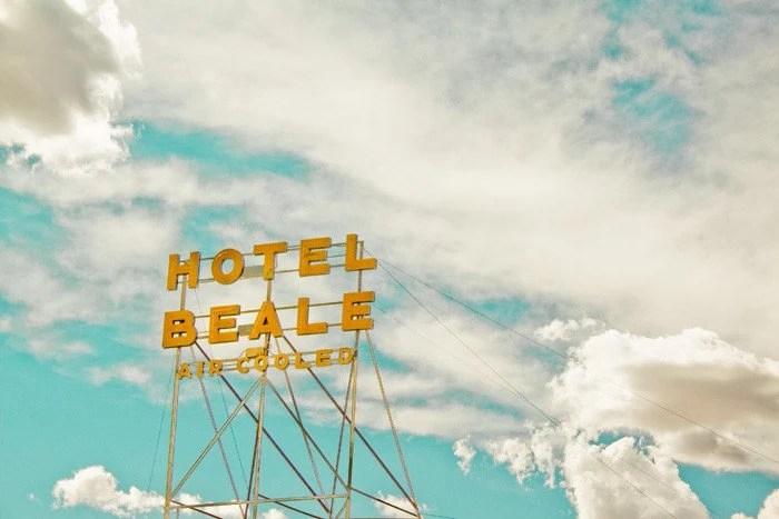 Vintage Roadside Route 66 Hotel Sign - Hotel Beale Kingman Arizona - Large Print 12x18