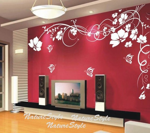 Beautiful Flower with Butterflies-Vinyl Wall Decal,Sticker,Nature Design for Nursery Room