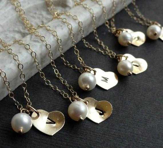 Bridesmaid Gift set of nine gold Initial Necklaces, bridesmaid necklaces, gold heart, pearl, personalized Bridesmaid gifts
