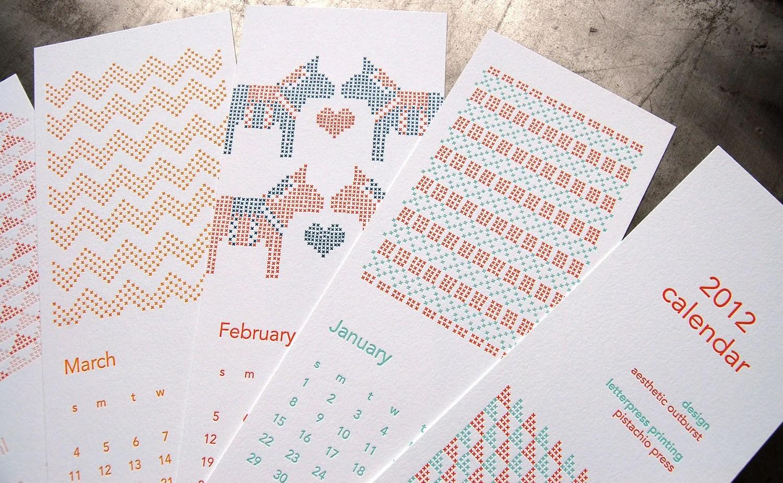 letterpress cross stitch calendar