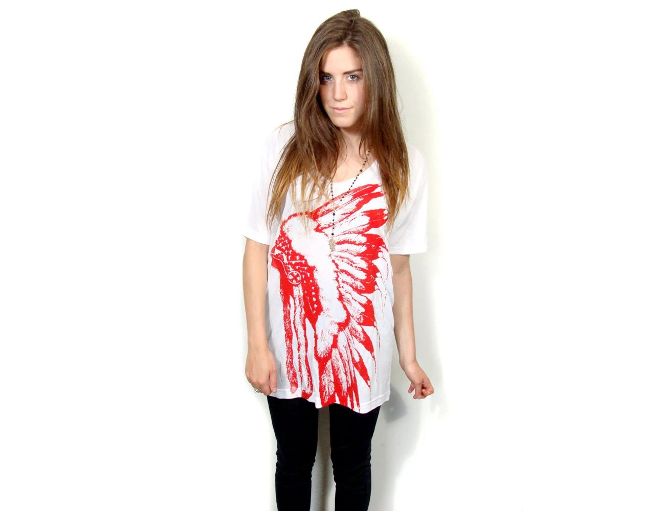Feather headdress print slouchy Tee
