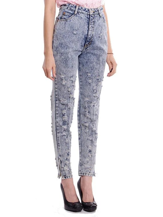 Vintage High Waist Jeans Skinny Acid Wash Distressed Denim Ankle Zip - S / M