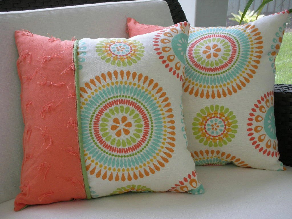 Decorative Accent Throw Pillow - 15 x15 Inch Reversible - Colorful Sun Burst Accent Pillow
