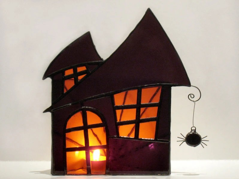 Haunted Mansion Stained Glass Halloween Spooky Candle Holder Large Purple Orange 2  Handmade OOAK