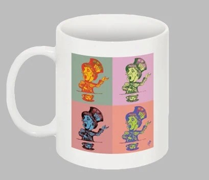 Alice in Wonderland Coffee Mug - Mad Hatter Pop Art, Tim Burton Inspired, proceeds to Alzheimer's Association
