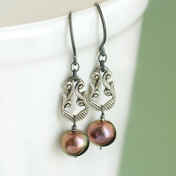 Sterling Silver Peacock Pearl Drop Earrings