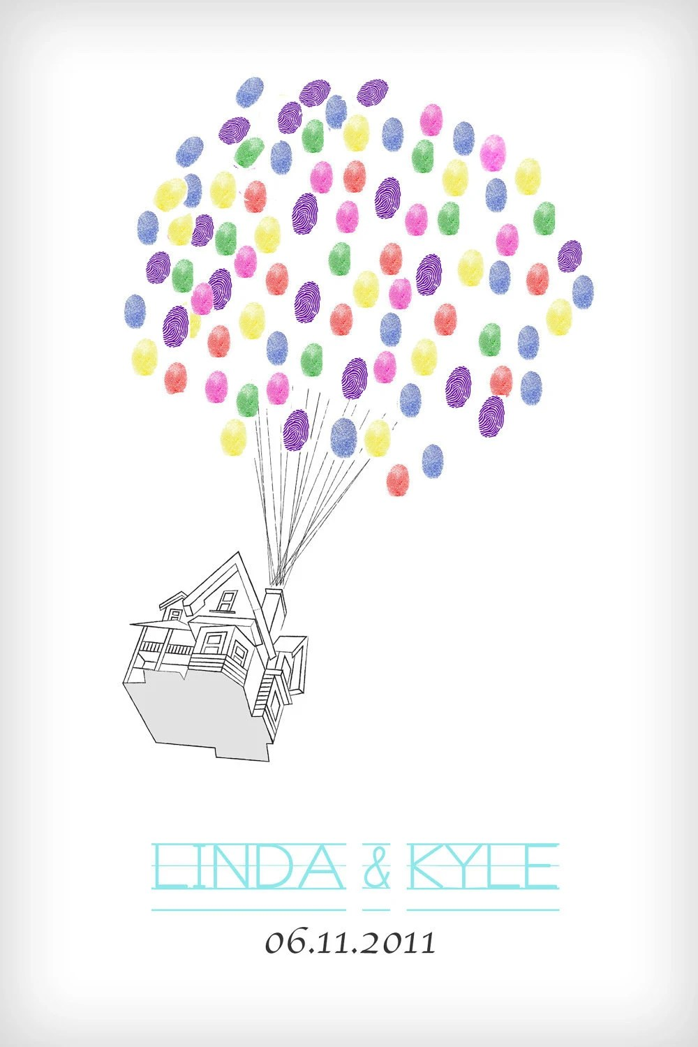 Fingerprint Guestbook Balloon Tree 12x18 Inspired by Disney's UP
