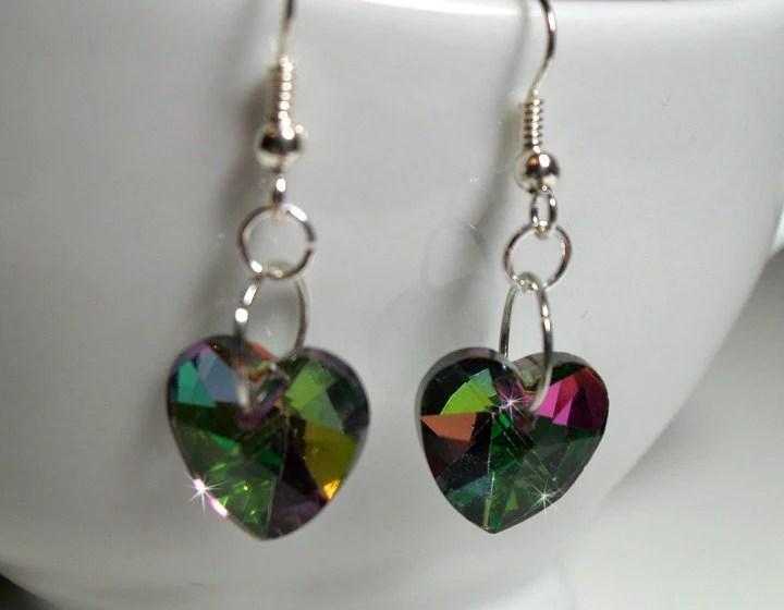 Crystal Heart Earrings - $12.00