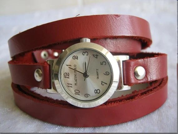 Handmade Silver Wrap Bracelet Watch with a Burgundy real leather band with a lovely classic pattern WORLDWIDE FREE SHIPPING