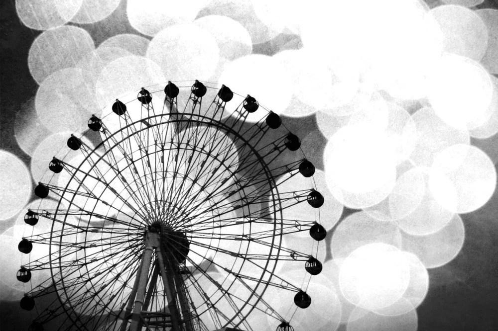 Halloween Sale 25% off Black and White Ferris Wheel metallic fine art photo 4x6