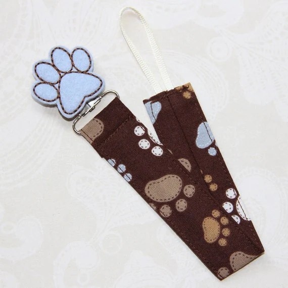 Paw Prints Fabric Pacifier Clip -- Universal -- Soothie - Paw Print Felt Embellishment