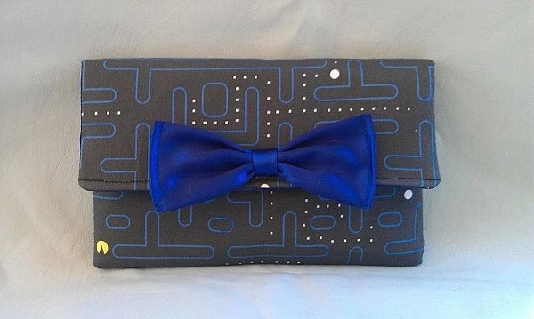 Pacman Wallet  with Blue Silk Bow and Interior