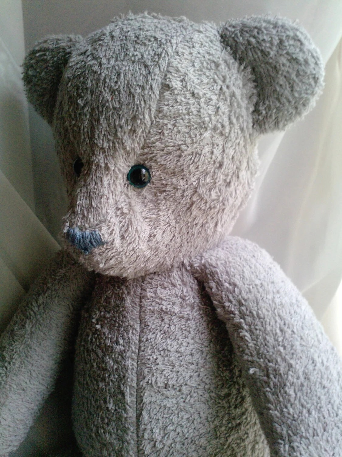 Handmade silver gray turquoise eyed teddy bear - personalize option